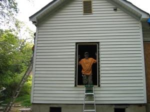 Doug framing for the back bedroom window