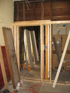 what will be lovely inset doorway to bedroon with shelf running above