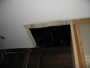 What will be new attic access, with trapdoor made from tongue and groove ceiling and built-in ladder along the sidewall