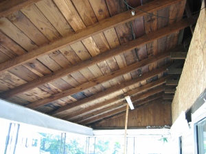 With the rafters gone, it is much easier to see how great the raised porch ceiling will be.